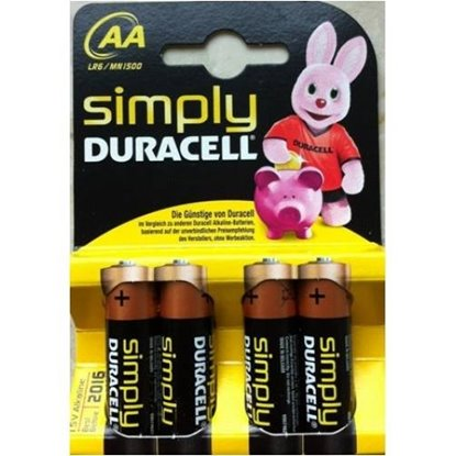 Picture of PILHA DURACELL AA MN1500 LR6 SIMPLY PACK4